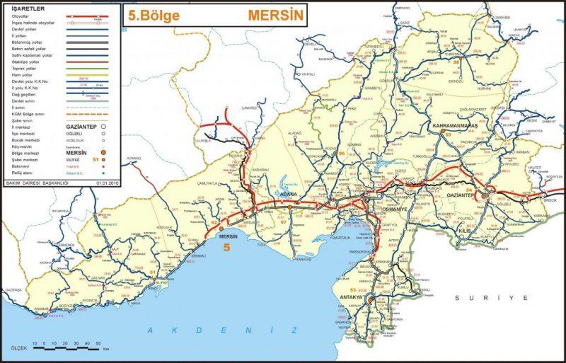 Mersin Karayolları Haritası
